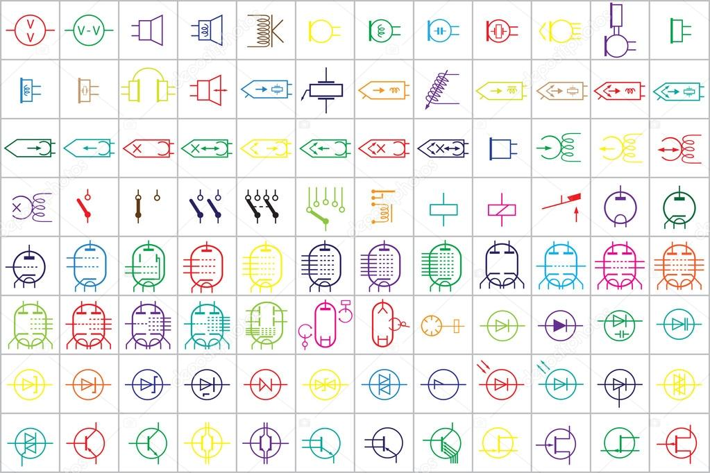 96 elektronische und elektrische Symbole v. 2 — Stockvektor © tewlyx ...