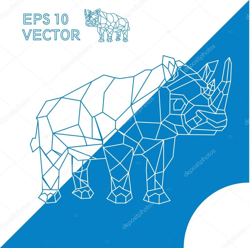 geometric animal Rhino outline