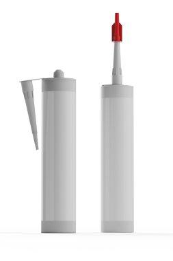 Set bottles with construction foam isolated on white background.
