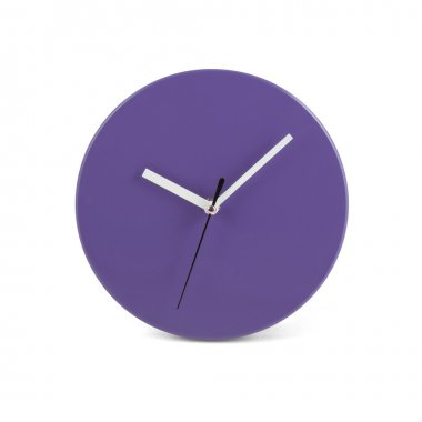 Purple simple round wall clock - watch isolated on white backgro
