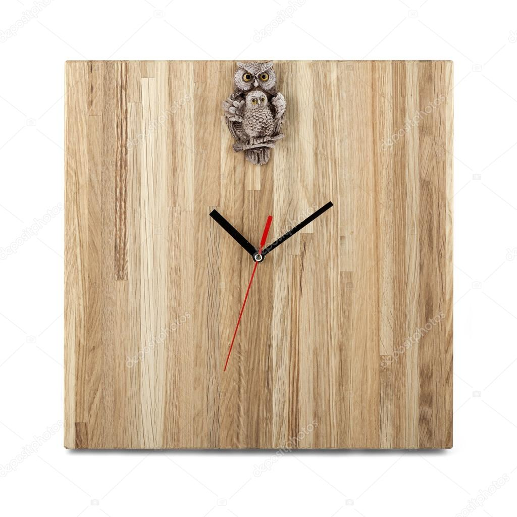 Simple wooden wall watch with owl square clock isolated on whi simple wooden wall watch with owl square clock isolated on whi stock photo amipublicfo Choice Image
