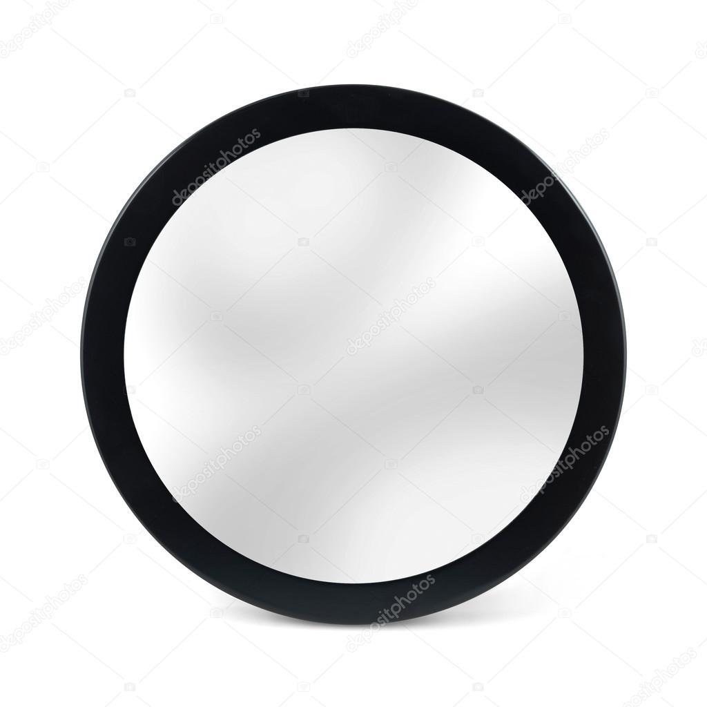 Espejo redondo marco negro aislado en blanco fotos de for Espejo redondo blanco