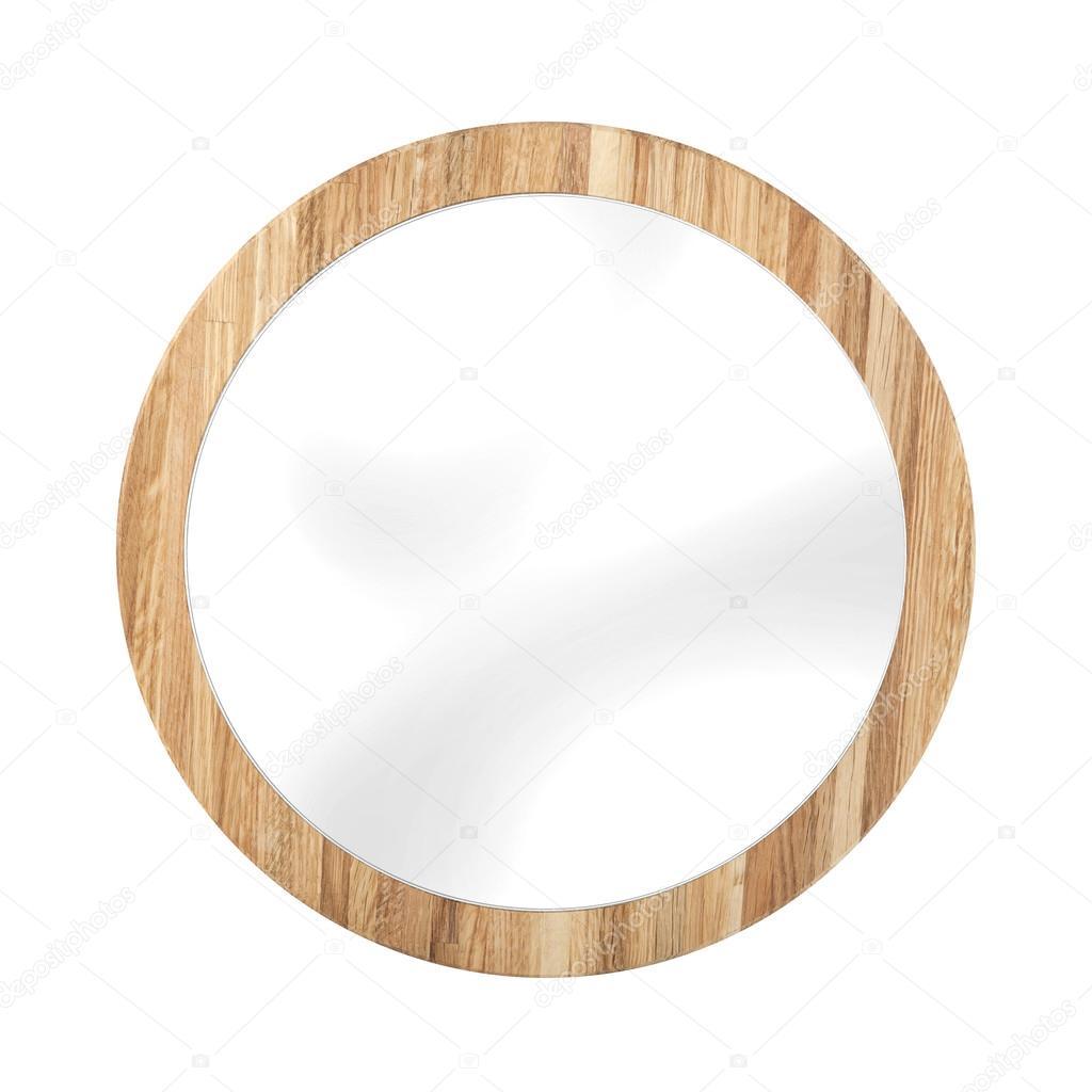 Espejo redondo marco madera roble - aislado en blanco — Foto de ...