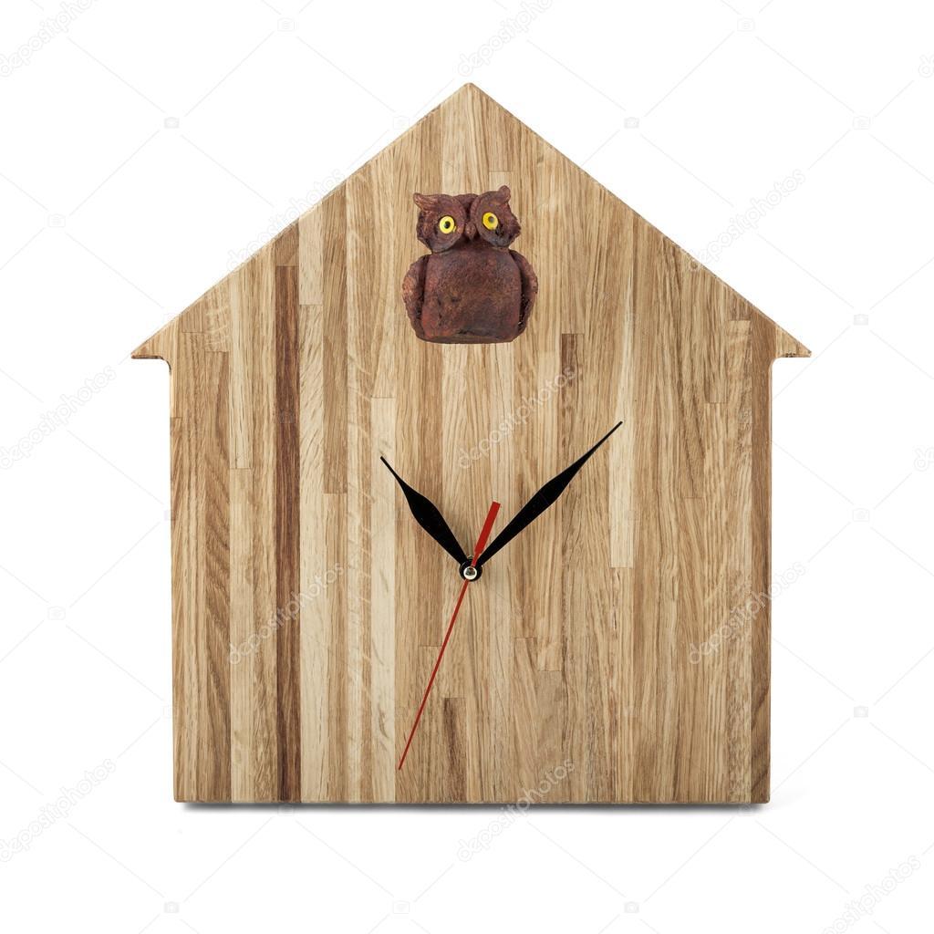 Holzwand Uhr Eule Uhr Isoliert Auf Weißem Hintergrund Stockfoto