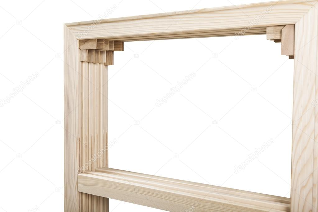 Gallery wrap stretcher bar frames with low riser isolated on white ...