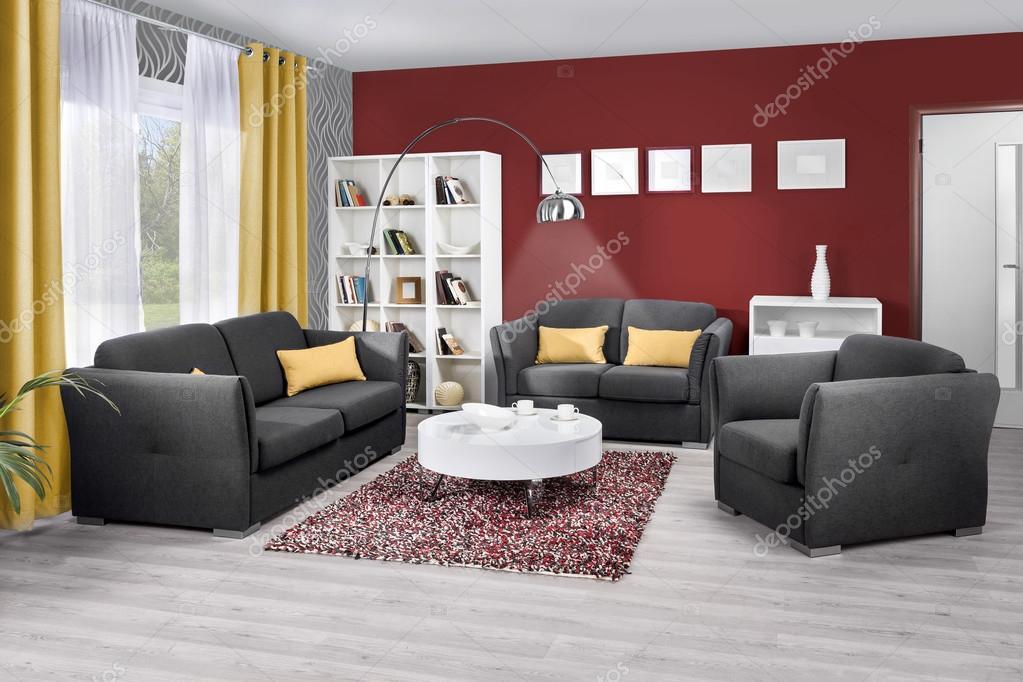 Interieur van een moderne woonkamer in kleur u stockfoto