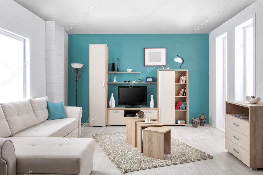 Interieur van een moderne woonkamer in kleur — Stockfoto ...