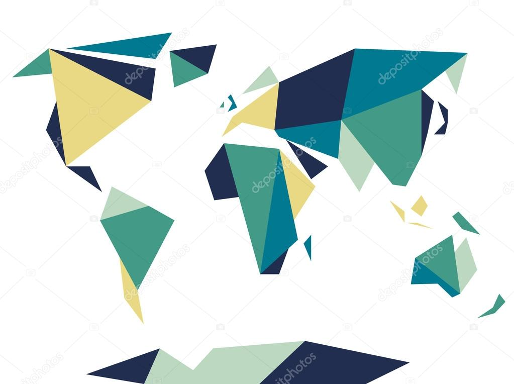 Low polygonal origami style world map abstract vector template low polygonal origami style world map abstract vector template stock vector gumiabroncs Gallery