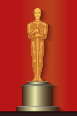 Golden oscar film award statuette isolated.