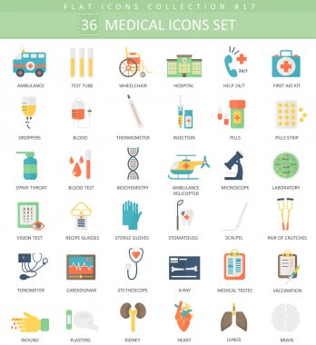 Vector medical color flat icon set. Elegant style design.