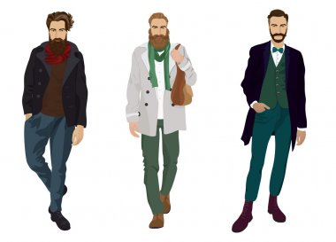 Handsome young guys with hipster beards in fashion and casual clothes isolated.