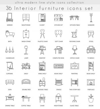 Vector Furniture ultra modern outline line icons for web and apps.