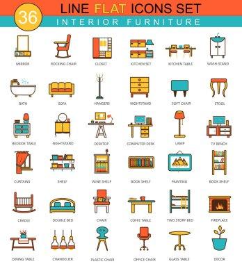 Vector furniture flat line icon set. Modern elegant style design  for web.