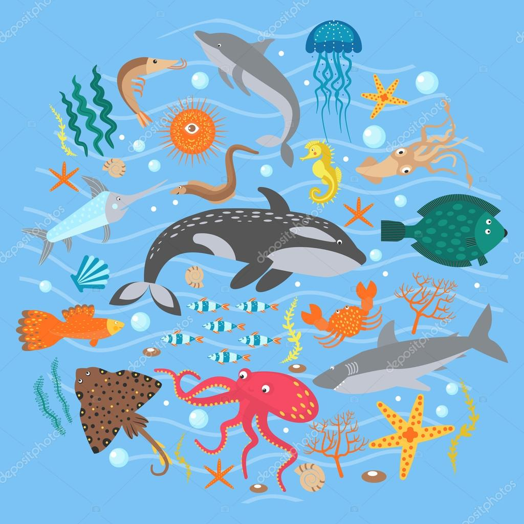 Concept Set of Cute Sea animals fish. Vector illustration.