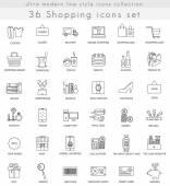 Vektor nakupování ultra moderní osnovy řádku ikony pro web a aplikace