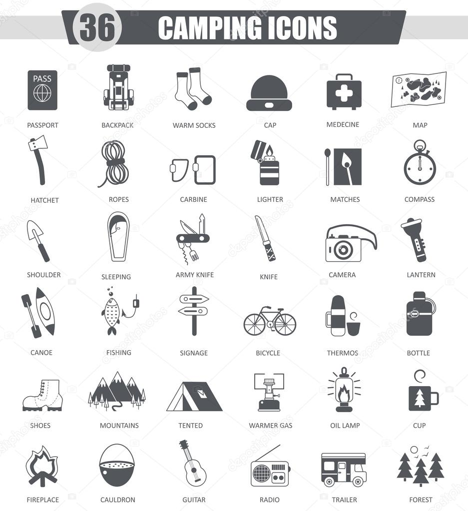 Vector Camping travel black icon set. Dark grey classic icon design for web.