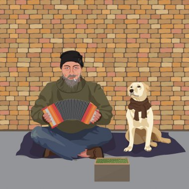 Homeless man with Dog. Shaggy man in dirty rags playing the accordion harmony. Asking for help. Vector illustration.