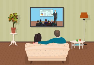 Young family man and women watching TV training tutorial program together in the living room. Vector illustration.
