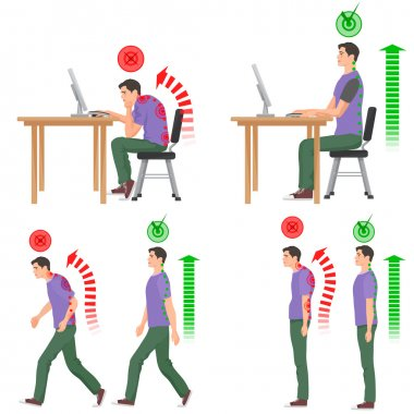 Correct and uncorrect bad sitting and walking position. Walking man. Sitting man. Back pain feeling and spinal injuries.