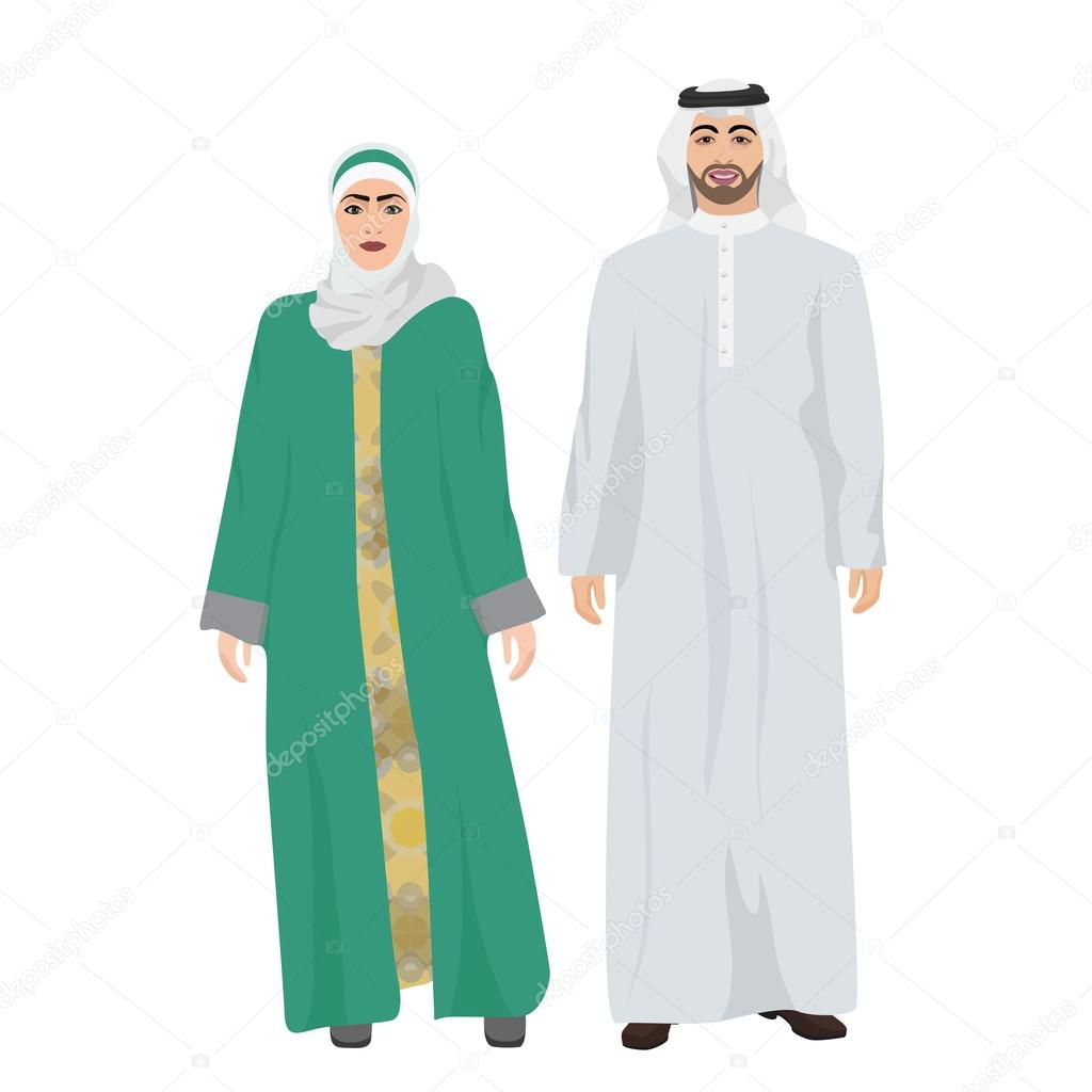 Depositphotos Stock Illustration Arabic Man Male And Woman Homens Vetor