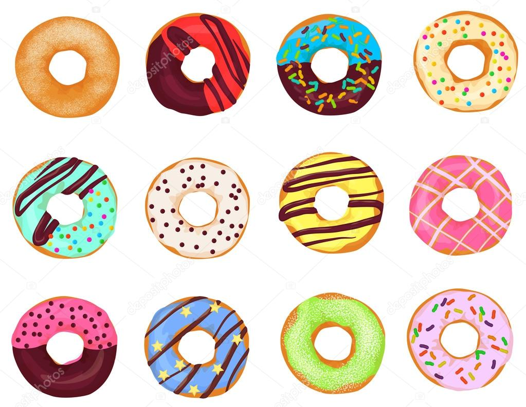 Set Of Cartoon Realistic Donuts Cakes Isolated On White