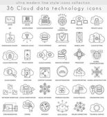 Vector Cloud data technology ultra modern outline line icons for web and apps.