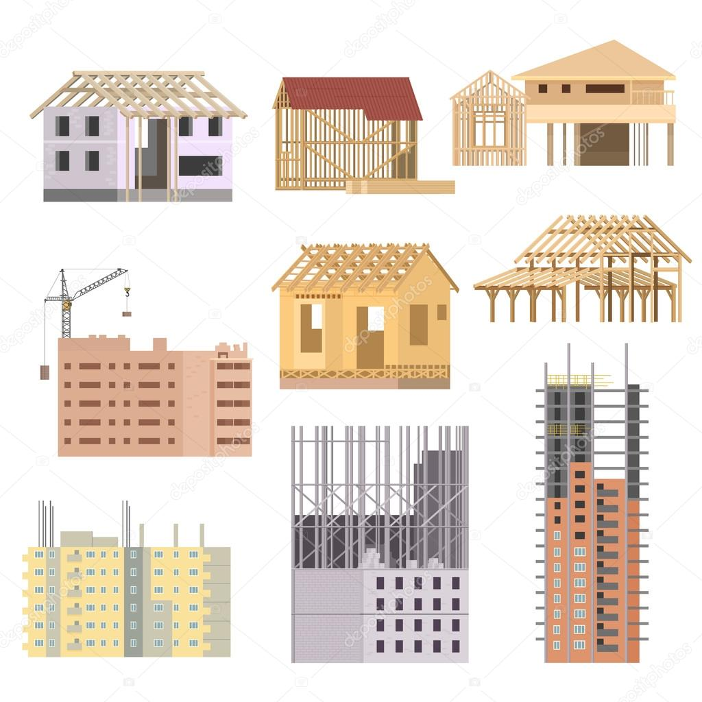 Vector flat building under construction building house for How to go about building a house