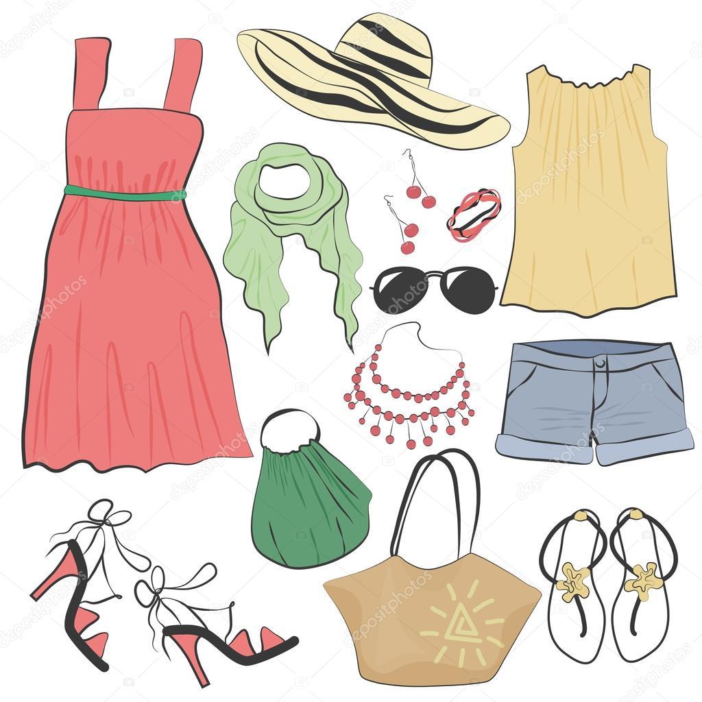 b40f50959f4e Collezione di moda casual donna estate vestito vestiti e accessori set– illustrazione  stock