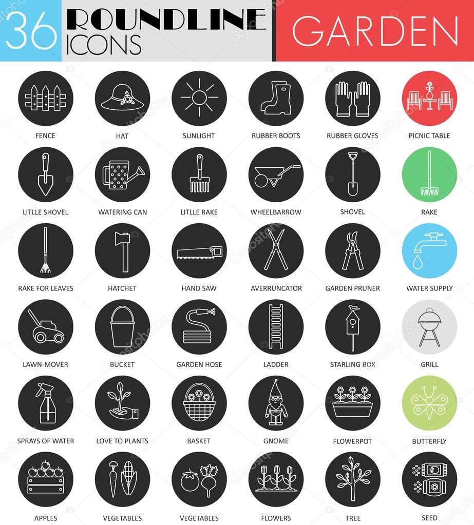 Vector Garden tools circle white black icon set. Modern line black icon design for web.