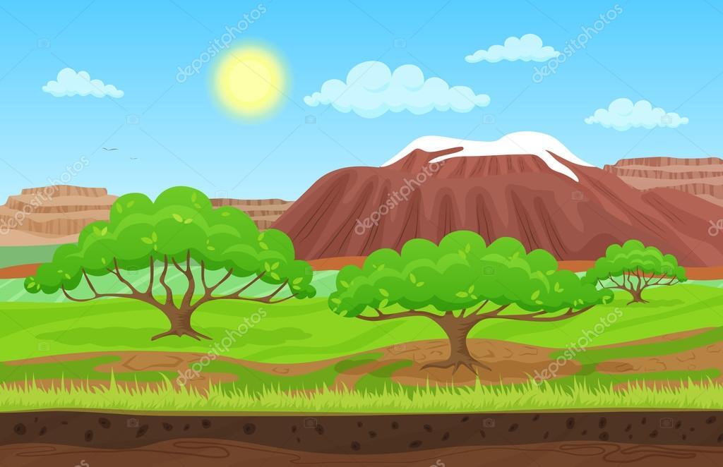 Dibujos Del Sol A Color: Dibujos Animados Color Naturaleza Paisaje De Verano De