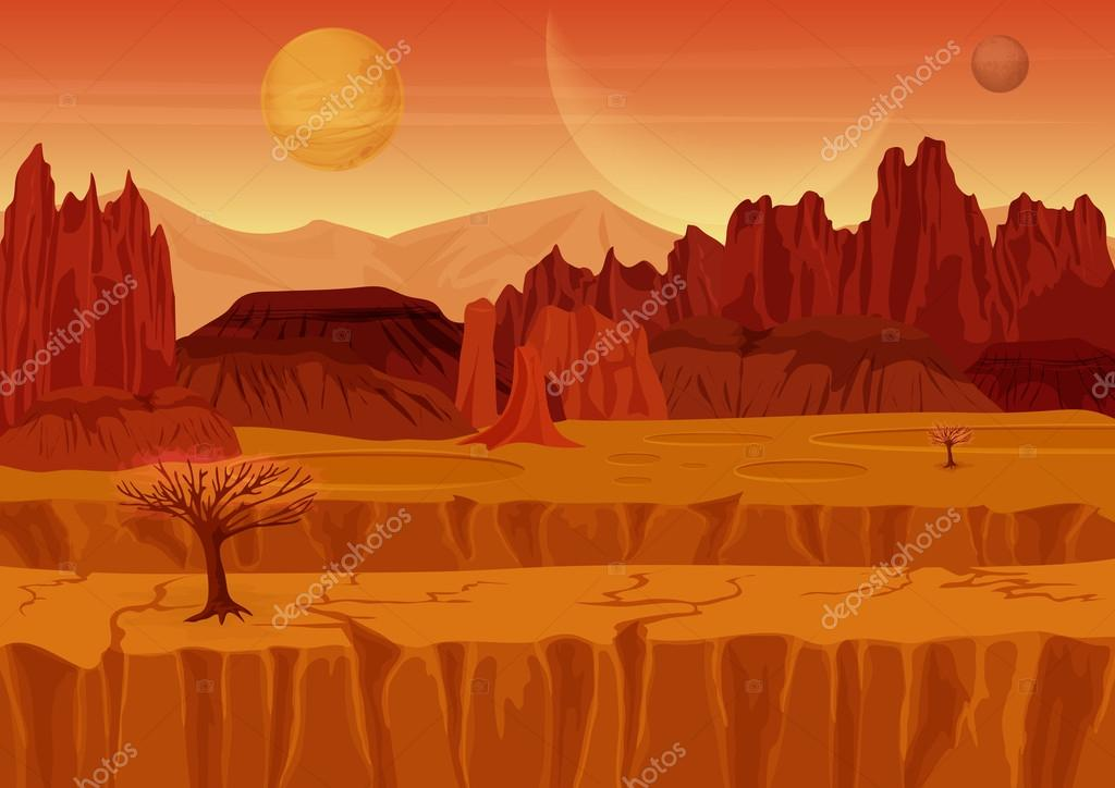 Fairy game Sci-fi red mars Alien Landscape. Nature on another planet with mountains, rocks and planets in the sky. UI Gaming landscape.