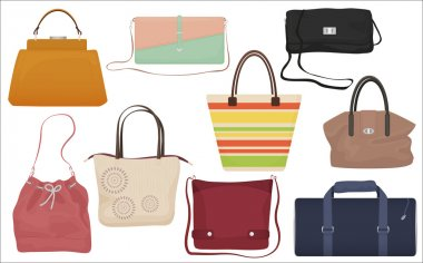 Woman fashion bags collection. Casual female handbag front isolated icons set.