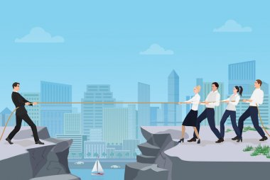 Powerful strong businessman competing with group of businessmen office people team playing tug of war battle between the rocks on the city background. Business concept.