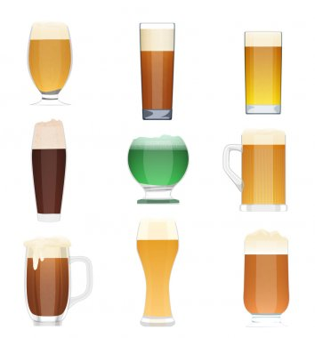 Different kind of beer collection set. Beer vector bottle icons, beer glass cups. Oktoberfest beer Holidays.