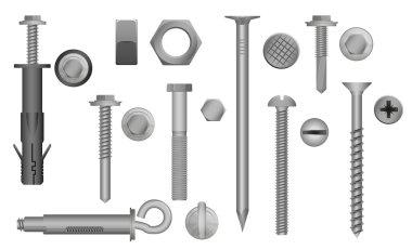 Construction Hardware set. Bolts, Screws, Nuts and Rivets. vector illustration of Metal fix gear elements.