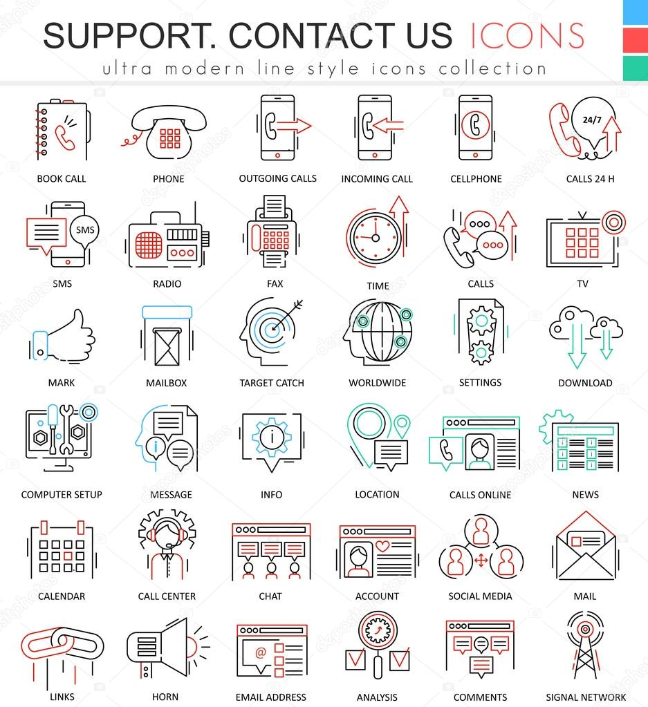 Vector contact us support modern color flat line outline icons for apps and web design.