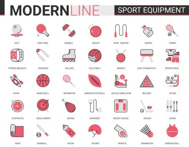 Sport fitness equipment red black flat line icon vector illustration set. Linear sport gear for sportsman symbols with sportswear, exercise gym item, football baseball badminton tennis game collection icon