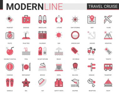 Travel cruise red black flat line icon vector illustration set. Outline tourism mobile app symbols of traveling transport, hotel service for tourists, sea summer beach party items editable stroke icon