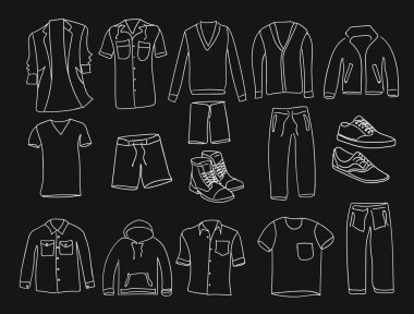 MInimalistic Men clothes and shoes illustrations icons, thin line style on the black background