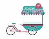 Fotografie Jahrgang Eis Fahrrad Warenkorb Bus Vektor-illustration