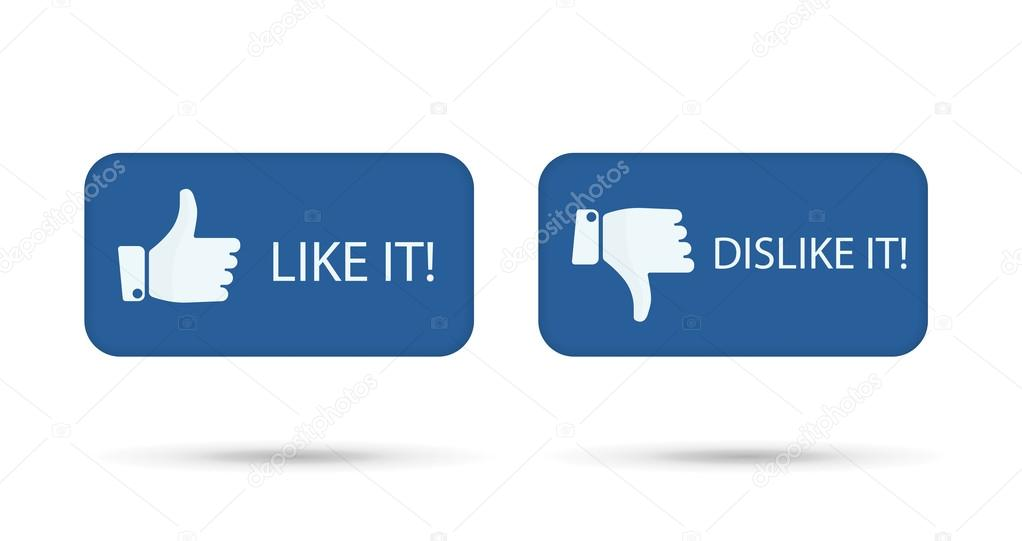 Like It And Dislike Symbol Button Isolated Stock Vector