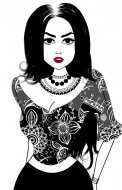 Vector image of gypsy, attractive woman. Isolated on white stock vector