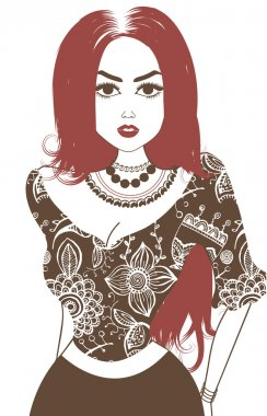 Vector image of gypsy, attractive woman. Isolated on white. Brown and pale red stock vector