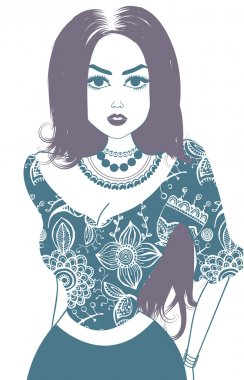 Vector image of gypsy, attractive woman. Isolated on white. Pale blue and purple stock vector