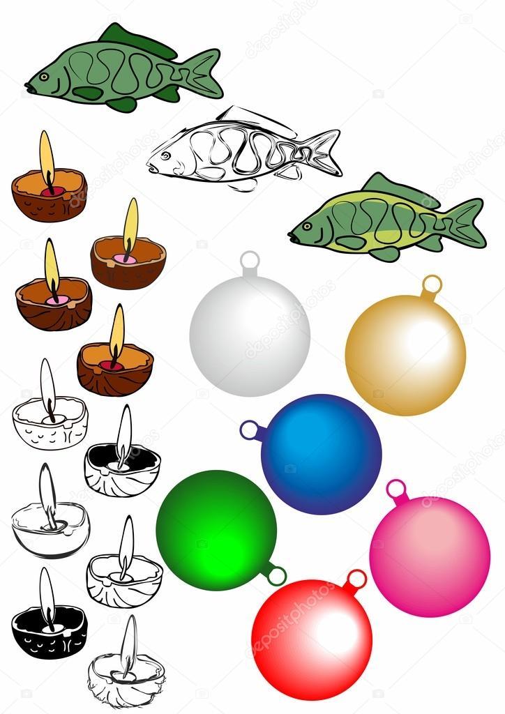 Farbige Weihnachten Karpfen, ein traditioneller tschechischer Fisch ...