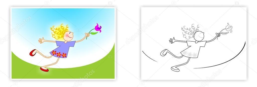 Primavera para colorear para niños. Niña con una flor. Dibujo de ...