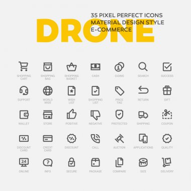 Set of 35 flat line icons.