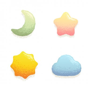 Cute shapes in hand drawn style.