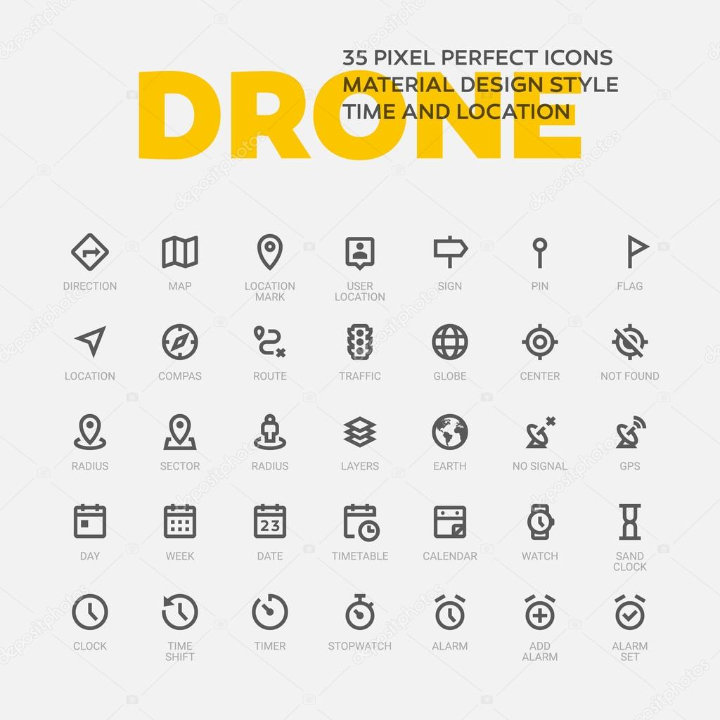 Set of 35 flat line icons.