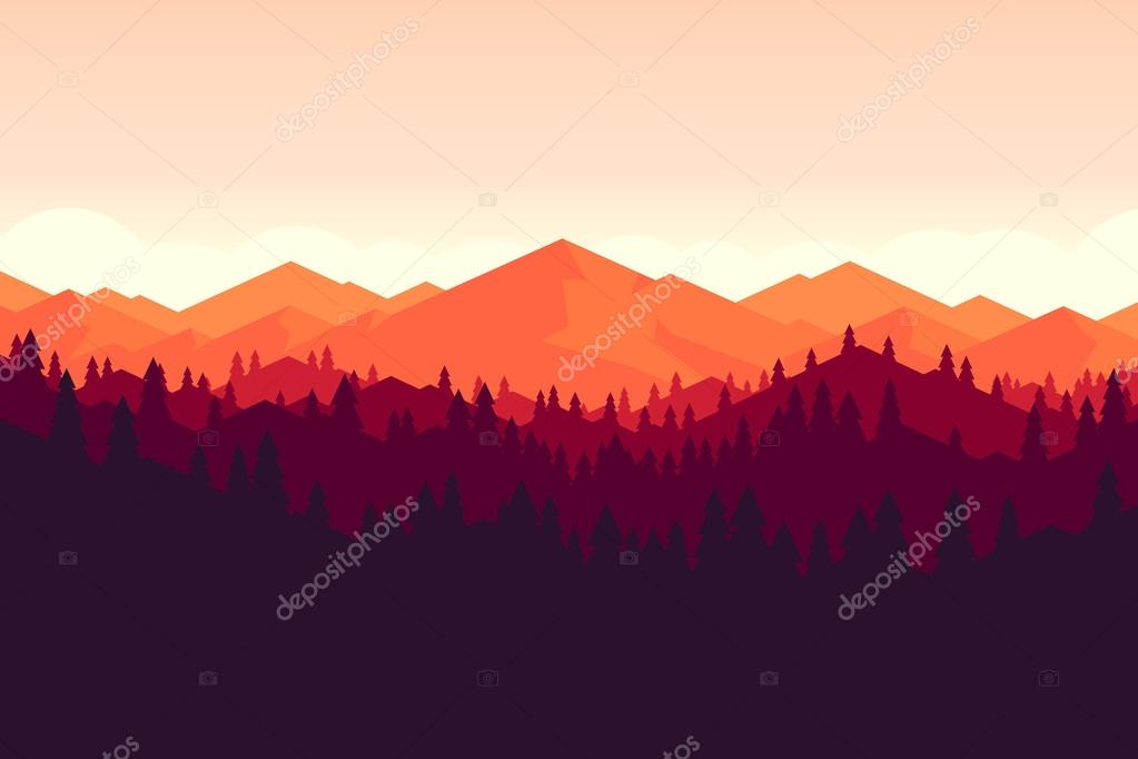 mountain and forrest landscape on the sunset.